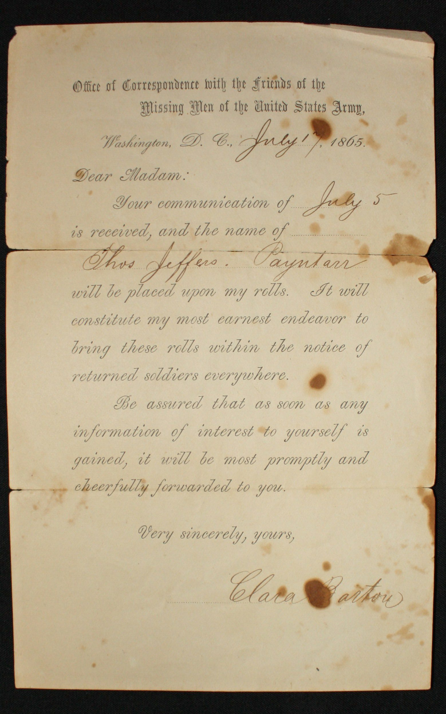 thomas jefferson payntar  missing soldiers office records
