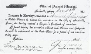 A prostitution licence from the Nashville experiment. Courtesy of the National Archives.