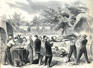 Waud sketch of medical evacuation after Antietam, Courtesy of the Library of Congress