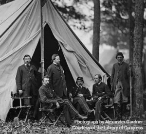 Letterman (seated left) sits with members of his staff in Warrenton, VA in November 1862. Photograph by Alexander Gardner, Courtesy of the Library of Congress