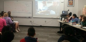 Students Skype with Thomas Frezza, then Collections Manager at the National Museum of Civil War Medicine