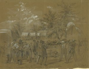 Alfred Waud Sketch of Evacuating Antietam