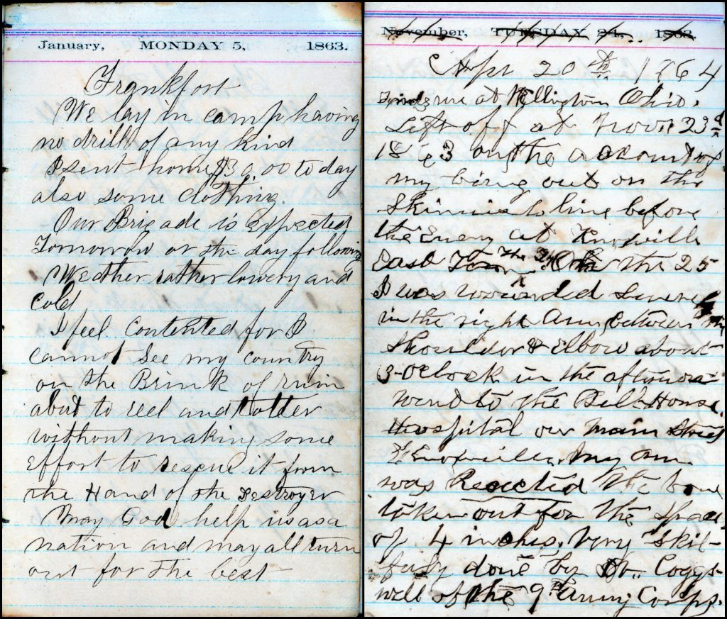 John Northrop's diary before and after the wounding and resection of his arm. Note the handwriting change.