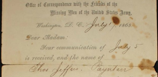 A form letter from the Clara Barton Missing Soldiers Office Museum, responding to the search for Thomas Jefferson Payntar