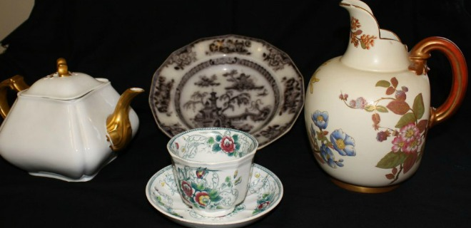 Teapot, plate, teacup, and pitcher connected to the Pry family