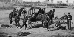 Zouave ambulance crew demonstrating removal of wounded soldiers from the field, Courtesy of the LOC