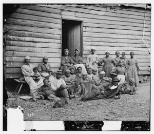 "Cumberland Landing, Va. Group of ""contrabands"" at Foller's house"