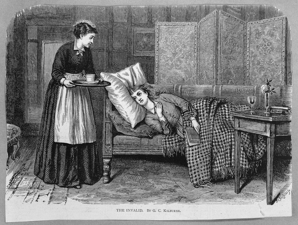 A patient lies on a chaise-longue, while a nurse brings her some refreshment. Courtesy of Wiki Commons