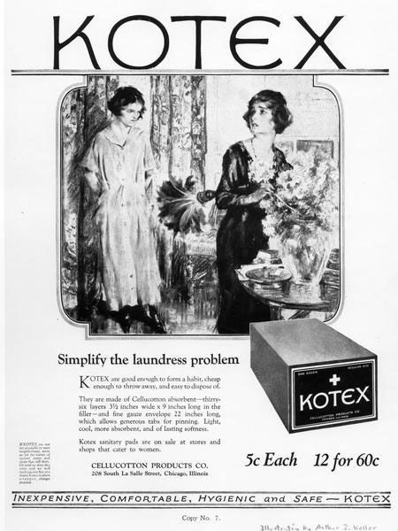 Early advertisement for Kotex pad Courtesy of the Wisconsin Historical Society, WHS-7001