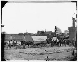 Washington, D.C. Field relief wagons and workers of U.S. Sanitary Commission Courtesy of the LOC