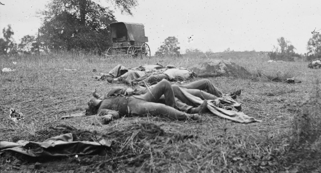 The dead awaiting burial on the field at Gettysburg. (LOC)