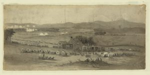 "The Battle of Cedar Mountain, August 1862. ""Night at the hospitals. Arrival of Gen. McDowell's Corps."" Courtesy of the Library of Congress"