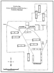 "Figure 3: ""Plan of the U.S.A. General Hospital No. 1, Frederick, Maryland,"" from Reimer, One Vast Hospital."