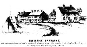 "Figure 4: Identified by the artist, Corporal Henry Bacon, Co. D, 13th Massachusetts Volunteer Militia, as the ""Frederick Barracks,"" this ca. 1861 view of the Hessian Barracks does not show the kitchen between the two stone buildings needed by the hospital complex. Courtesy Maryland Historical Trust, FHD-024"