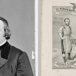 Collage of Henry Wilson and political cartoon of Wilson and President U.S. Grant