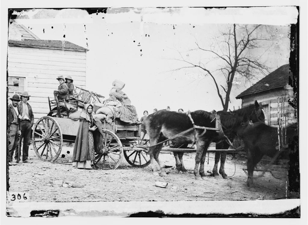 """Departure from the old homestead."" Courtesy of the LOC"