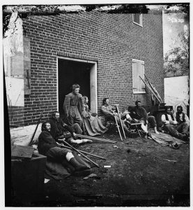 Wounded at Fredericksburg, 1864. Courtesy of the Library of Congress