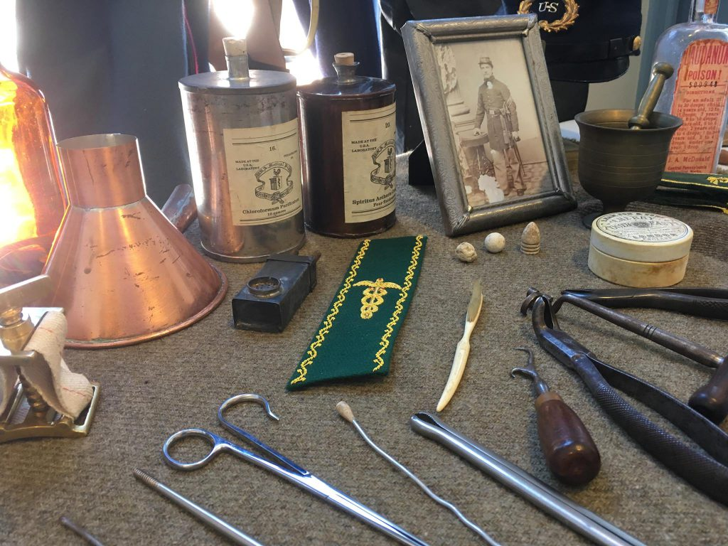Civil War artifacts arranged on a table.