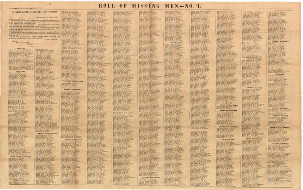 Published in June of 1865, this is the first of five rolls of Missing Men that the Missing Soldiers Office printed. Joseph Hitchins name appeared on three out of the five roles published. (Courtesy of the Maryland State Archives)