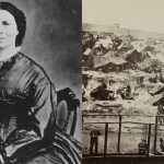 Collage of Clara Barton photo and a photo of Andersonville