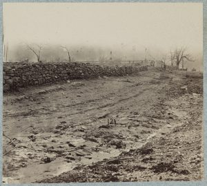 The stone wall near the base of Marye's Heights, Fredericksburg (Virginia), was the location of the Irish Brigade's devastating charge at Confederate forces in December 1862.