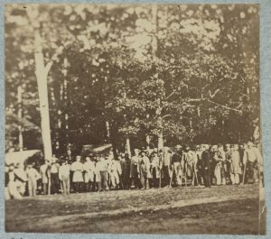 Unidentified soldiers wounded at Gettysburg pose for a picture near a field hospital in August of 1863. Courtesy of the Library of Congress.