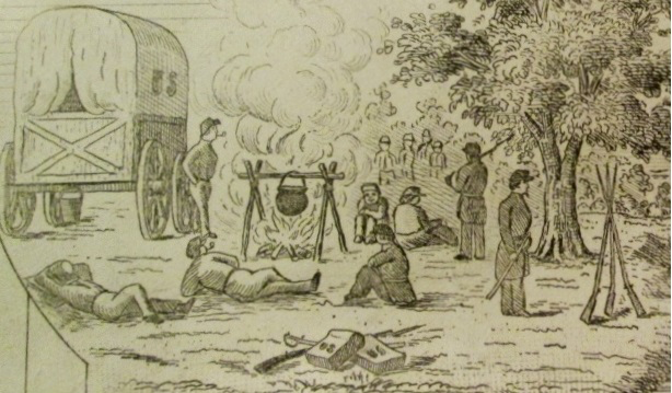 camp fire image from Union score book