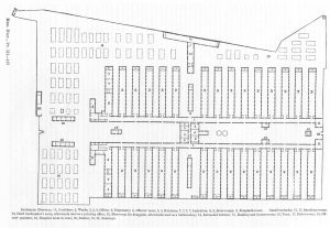 Plan of Satterlee Hospital in West Philadelphia.  Each ward (labeled #2) had a water closet and bath room at the far end.  Water was supplied from the Schuylkill River by the West Philadelphia water works.