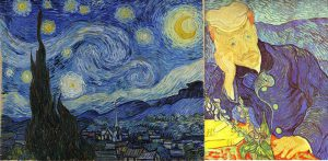 Van Gogh's Starry Night and Self Portrait