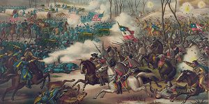 Post War painting of The Battle of Pea Ridge.