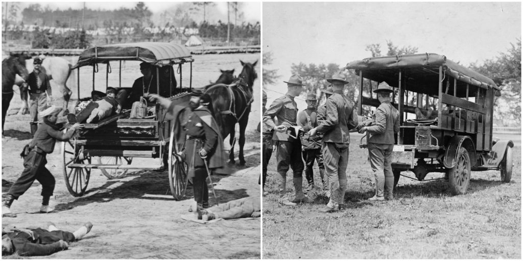 Ambulance drill comparison - Civil War and WWI, Library of Congress