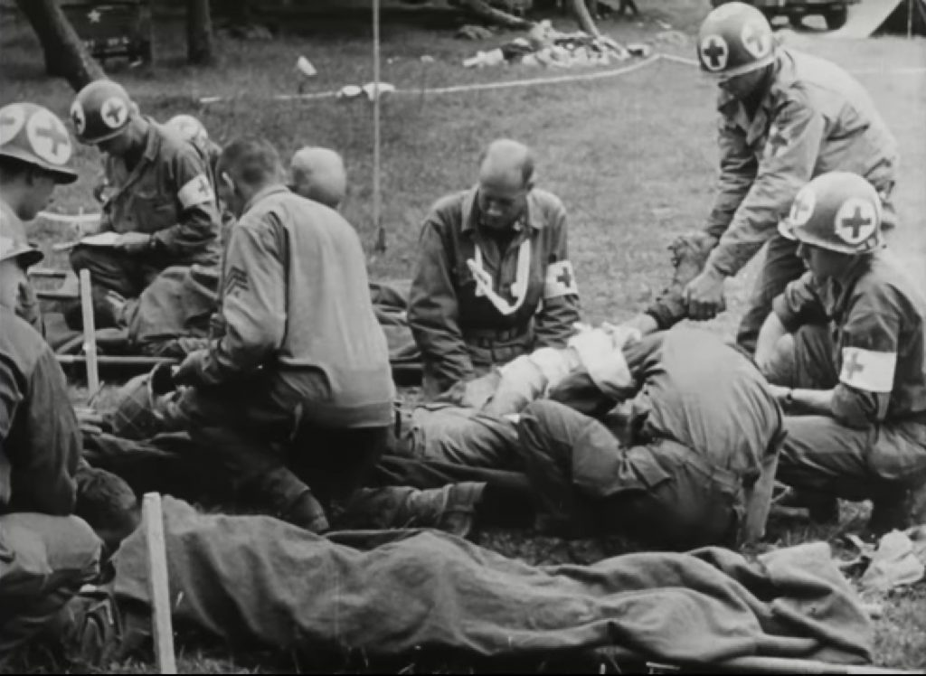 Here World War II medical personnel emulate the care practiced at Letterman's field dressing station.