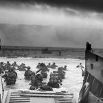 photo of American troops storming the beaches of Normandy