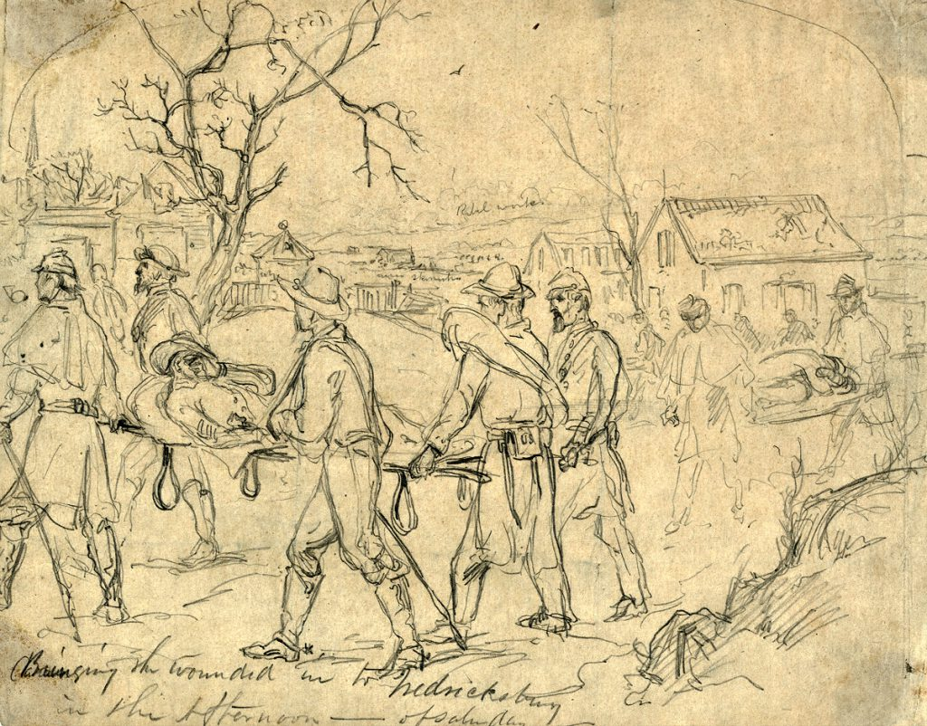 Evacuation of wounded soldiers from Fredericksburg.
