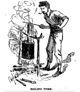 Civil War soldier boiling lice.