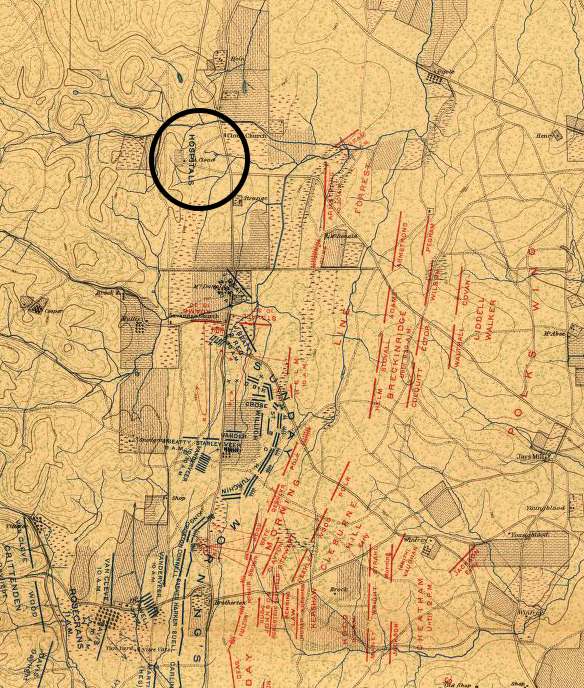 Map of the Chickamauga battlefield with the Cloud Springs hospital site circled.