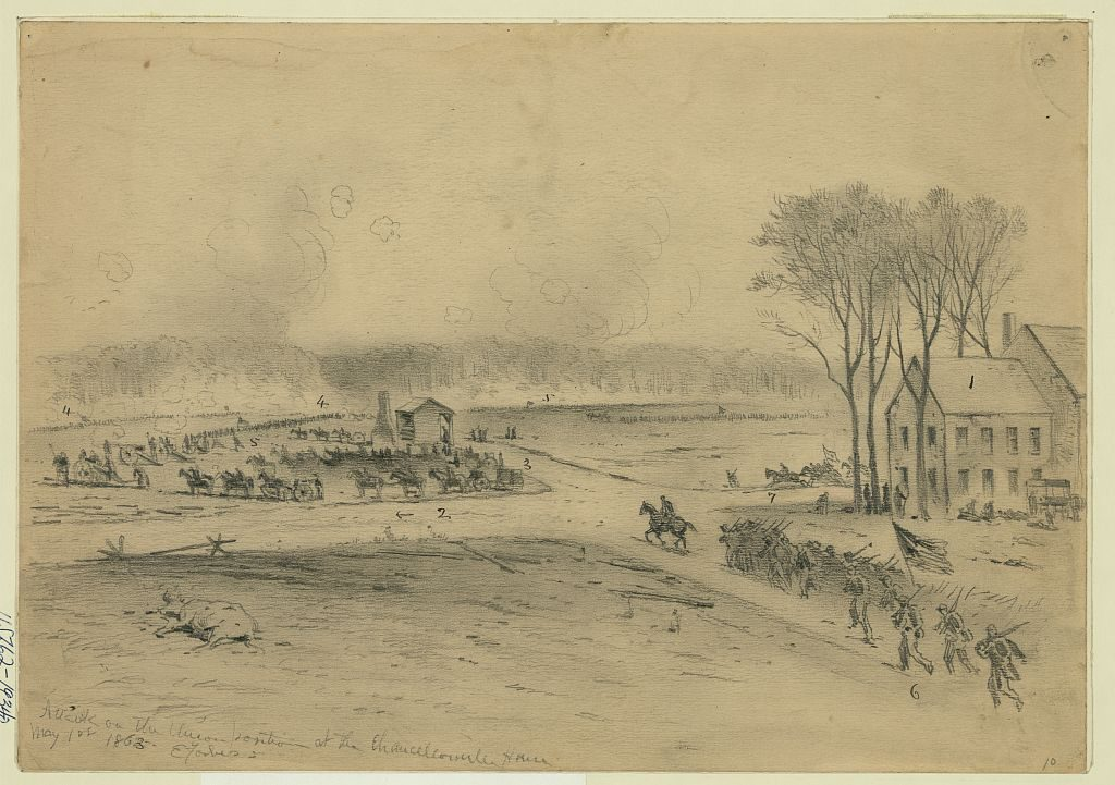 Sketch by Edwin Forbes depicting the fight at Chancellorsville on May 3 (Library of Congress)