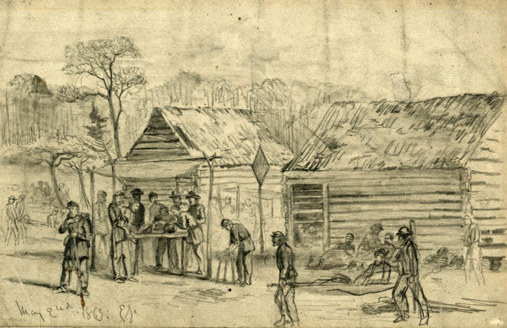 Sketch by Edwin Forbes depicting a Federal field hospital near Chancellorsville (Library of Congress)