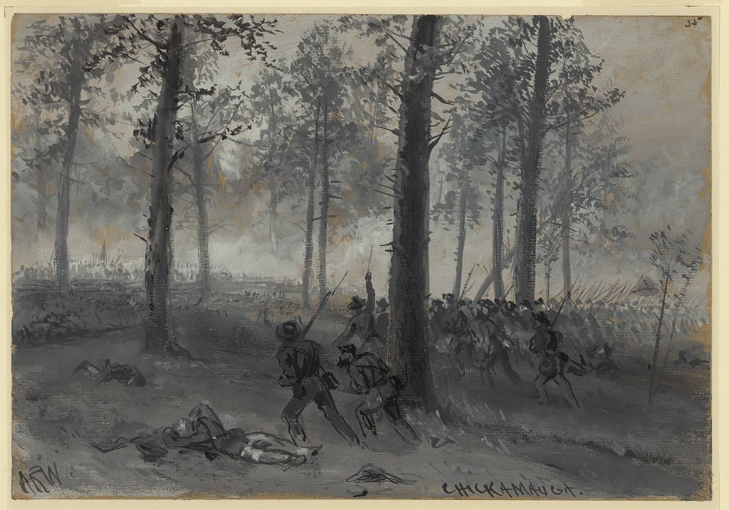 Sketch of one of the final Confederate assaults at the Battle of Chickamauga