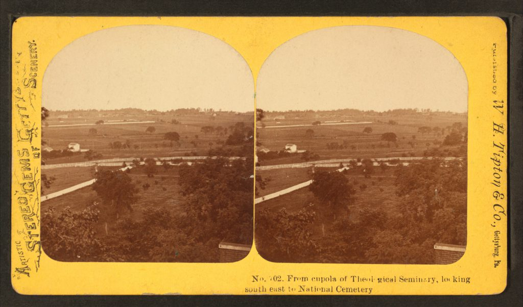 The view looking southeast toward Cemetery Hill from the seminary cupola, circa 1878. Courtesy of the New York Public Library