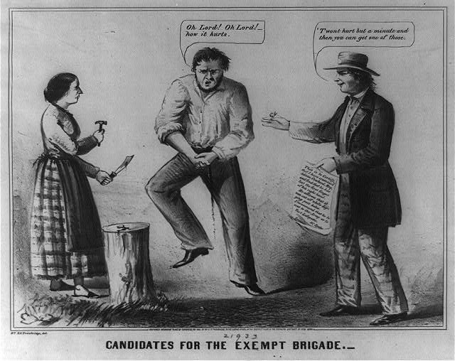 Candidates for the Exempt Brigade - A satire on seeking exemption from military service (LOC)