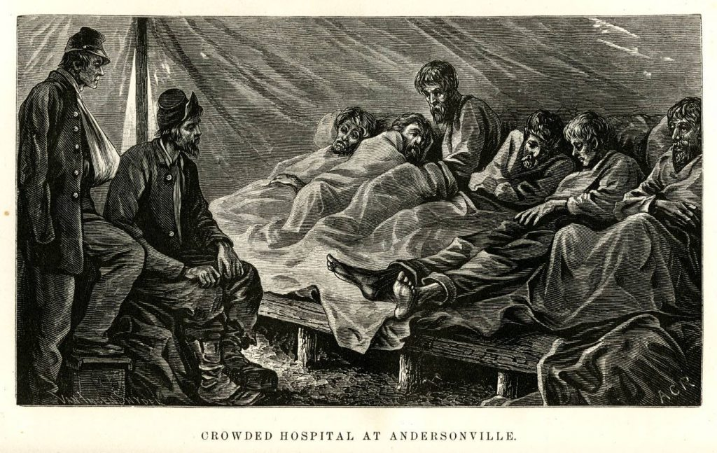 Hospital ward at Andersonville Courtesy of the Library of Congress