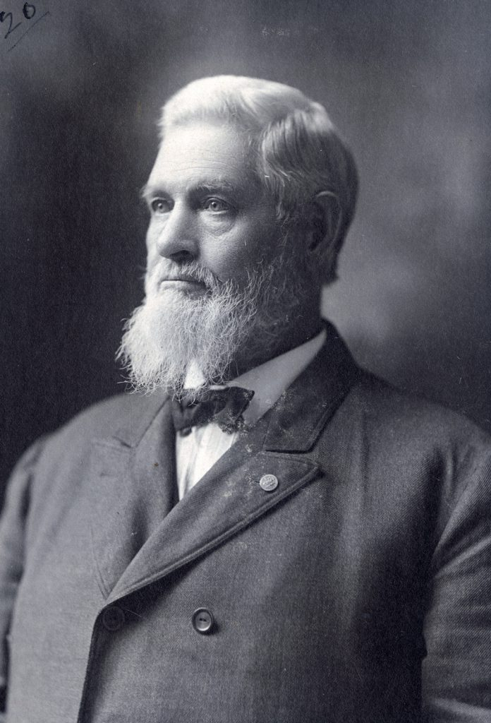 A portrait of Elisha Rice Reed wearing his G.A.R. pin, circa 1900. Courtesy of Wisconsin Veterans Museum (reproduced with permission)