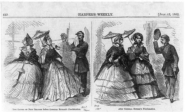 "Cartoon concerning Benjamin Butler's ""Woman Order,"" as military governor of New Orleans, Harper's Weekly, May 15, 1862. Courtesy of the Library of Congress"