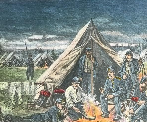 Drawing of soldiers in camp. Image used in Bicknell's stereopticon presentation. From the collection of the Fifth Maine Regiment Museum