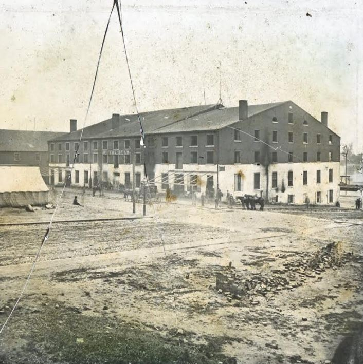 Libby Prison, Richmond, Virginia. Image used in Bicknell's stereopticon presentation. From the collection of the Fifth Maine Regiment Museum