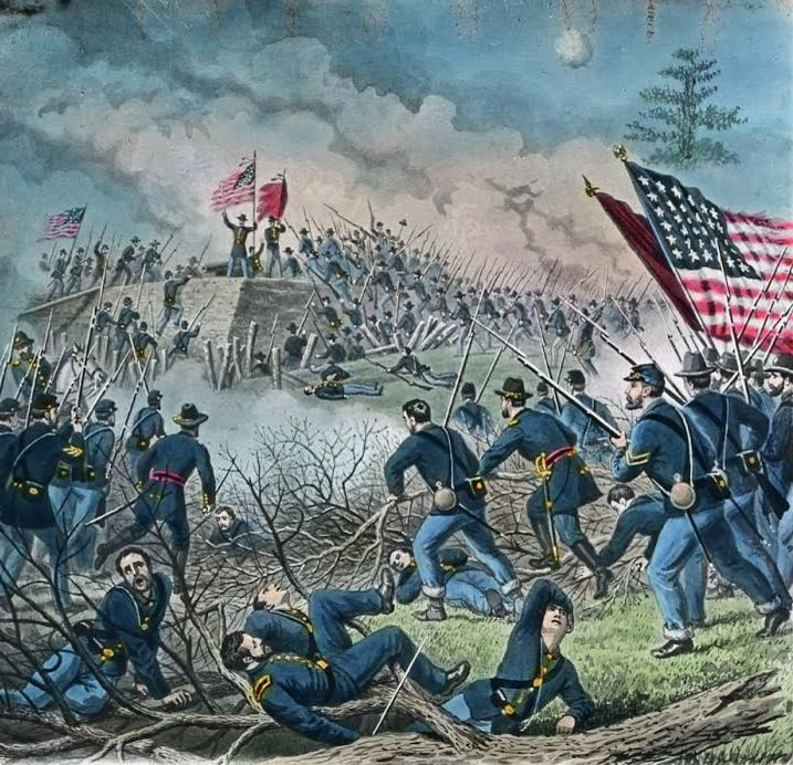 Assault on Confederate works, used to represent the Second Battle of Rappahannock Station. Image used in Bicknell's stereopticon presentation. From the collection of the Fifth Maine Regiment Museum