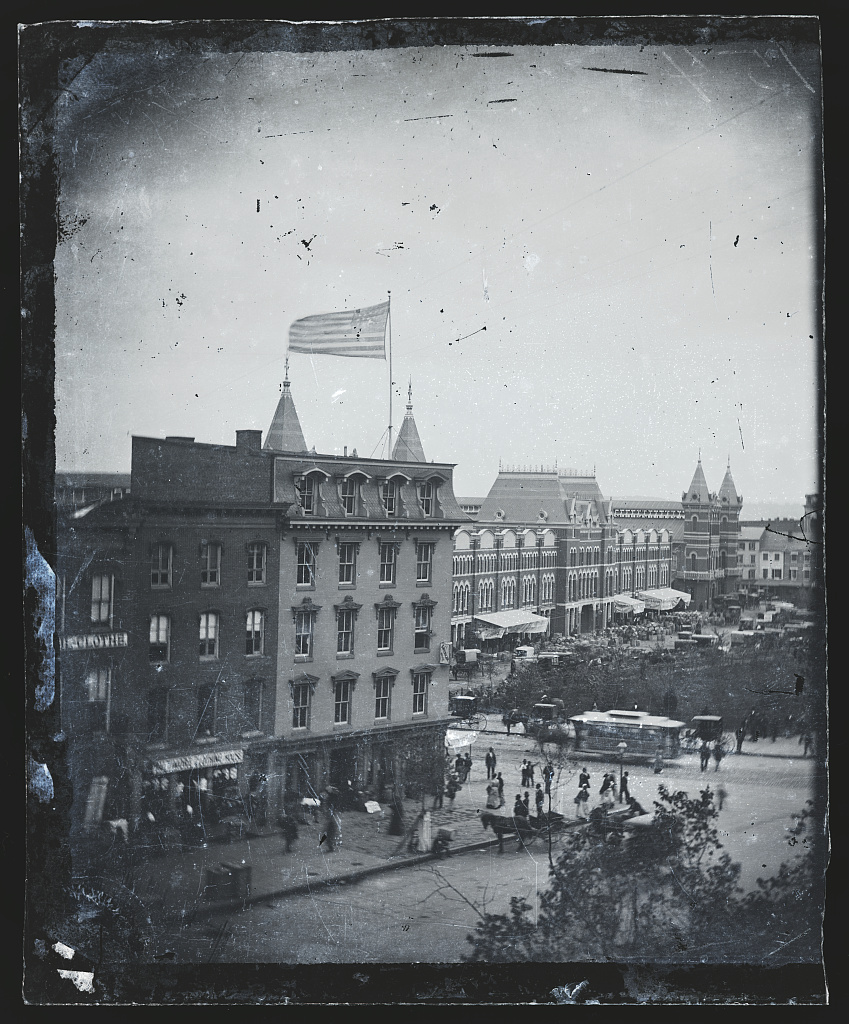 View from Mathew Brady's photographic studio on Pennsylvania Avenue, looking toward Center Market, 1880s. Susan Ireland's bank rented offices on the studio building. Courtesy of the Library of Congress
