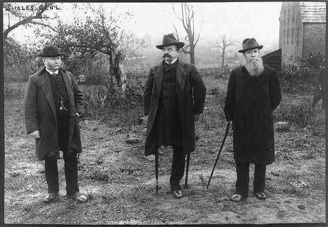 General Daniel Sickles (center) with General Joseph B. Carr (left) and General Charles K. Graham (right), visiting the location on Gettysburg Battlefield where Sickles was injured. Photograph circa 1886. Courtesy of the Library of Congress