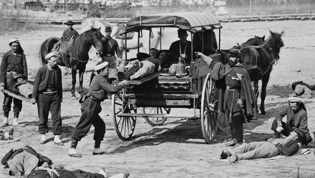 Union soldiers training for the Ambulance Corps Courtesy of the Library of Congress